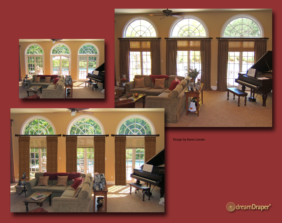 Contemporary Window Treatment on Triple Arch French Doors