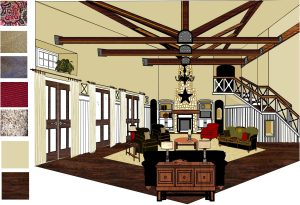 DreamDraper Rendering - Living Room with Beams - Design by Annette Parker