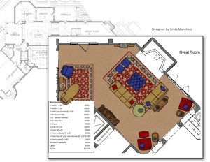 'Great Room' Space Plan by Linda Mannherz